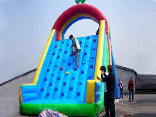 Inflatable Amusement Park With Red And Green Rock Climbing