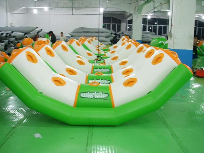 Green And White Single Water Totter Inflatable Water Sports For 4 People