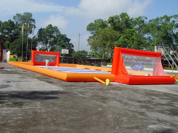 School Inflatable Soccer Field / Soap Football Field For Teenager Play