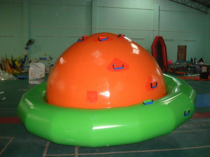 Green And White Inflatable Tilting Saturn For Water Games In Summer