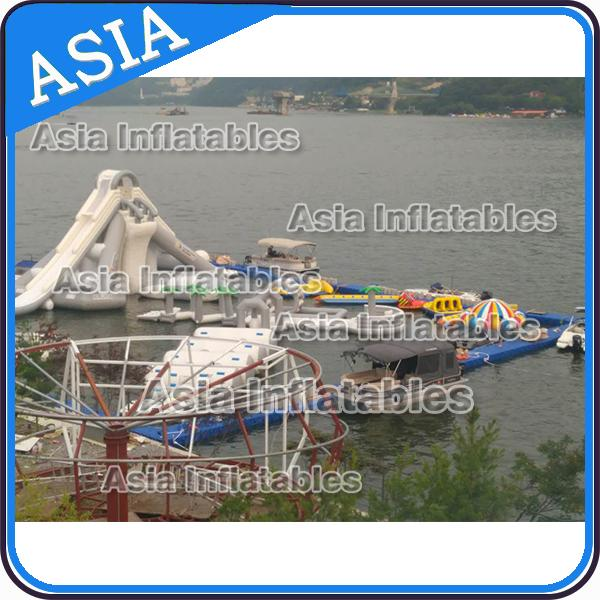 Custom Reinforced PVC Tarpaulin Inflatable Water Park For Children White And Grey