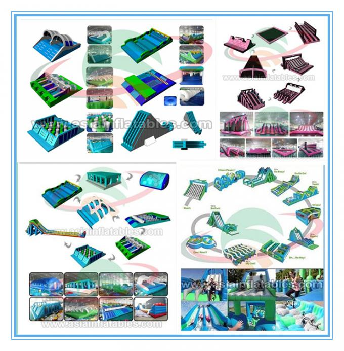 Colorful Giant Inflatable Obstacle Course 5k For Adult Customized Size