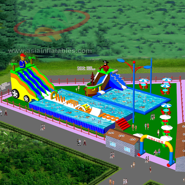 Custom Inflatable Water Amusement Park Pool Combined With Slide