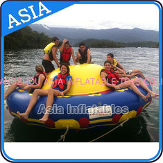 China Sealed 3m Inflatable Floating Spin Water Disco Boat For 8 Person Blue / Yellow supplier