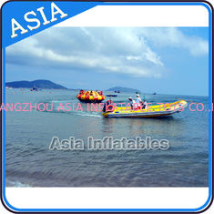 China Sealed 3m Inflatable Floating Spin Water Disco Boat For 8 Person Blue / Yellow factory