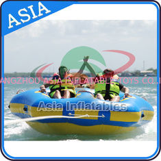 China Sealed Towable 4 Person Inflatable Boats Yellow / Blue Rolling Donut Boat supplier