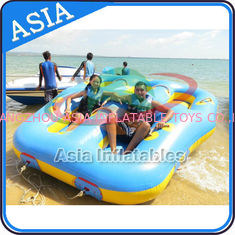 China Sealed Towable 4 Person Inflatable Boats Yellow / Blue Rolling Donut Boat factory