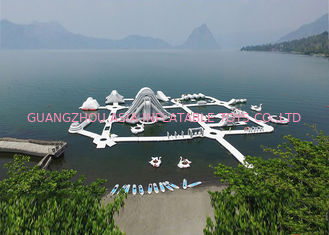 China Custom Reinforced PVC Tarpaulin Inflatable Water Park For Children White And Grey supplier