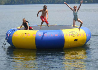 China 4m bule and yellow water trampoline, inflatable water games trampoline factory