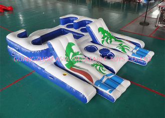 China Party Inflatable Floating Island For Beach Vacation , Inflatable Lounge For Lake factory