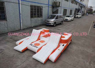 China Orange 0.9mm PVC Tarpaulin Inflatable Floating Island For Water Sports factory