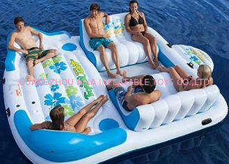 China Large Inflatable Floating Island , Inflatable Lounge Water Floating Games For Leisure factory