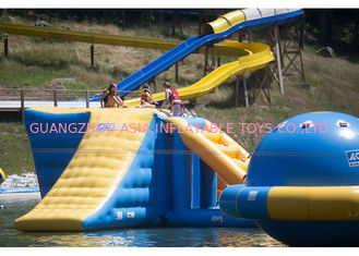 Amazing 0.9mm PVC Inflatable Water Park / Blow Up Water Trampoline For Kids