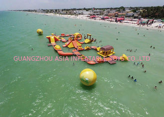 China Mayan Beach Inflatabled Aqua Park / Floating Obstacle Course For Rental factory