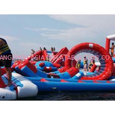 China Red and Blue Inflatable Aqua Park , 0.9mm PVC Tarpaulin Inflatable Sports Park factory