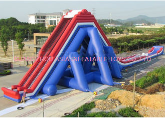 Blue And Red Giant Inflatable Slide With Three Lanes / Digital Printing