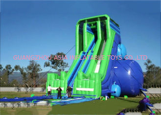Green And Blue  Dry and Wet Slides , Inflatable Drop Kick Slide With Double Lanes For Resort And Event