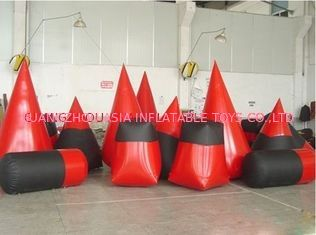 Red 0.6mm Pvc Tarpaulin Inflatable Paintball Bunker For Paintball Sports
