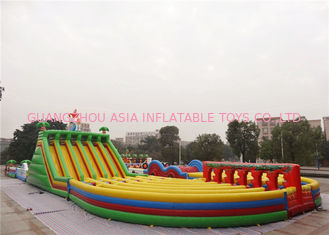 China Fire Retardant Inflatable Backyard Obstacle Course For Adults Hand Drawing factory