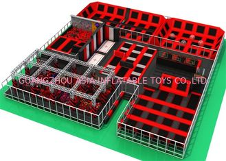 China Childrens Bounce Trampoline Park With Ninja Warrior Course And Climbing Wall factory