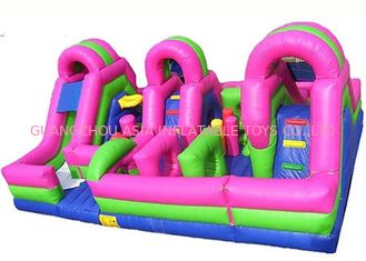 Colrful Giant Combo Inflatable Fun City With Slide And Obstacle Course