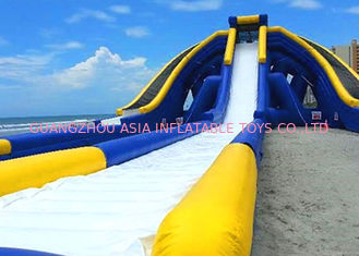 China Large And Long Inflatable Triangle Dry And Wet Slide With 0.55 mm PVC Tarpaulin factory
