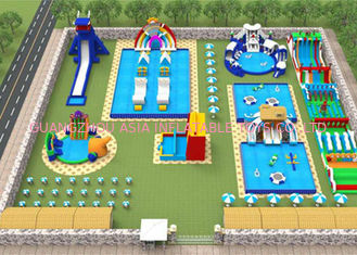 Adults Giant Water Toys / Outdoor Inflatable Water Park With Slide Hand Painting
