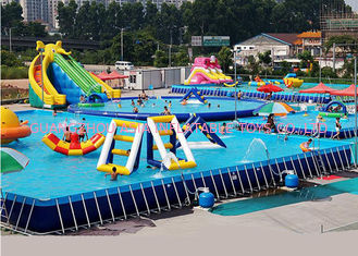 Unitized Amusement Inflatable Water Parks , Blow Up Water Slide With Bracket Pool