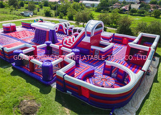 Durable Inflatable Theme Park With PVC Tarpaulin Material Purple And Blue