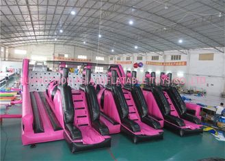 China Insane Pink Color Rush Challenge Commercial Inflatable Obstacle Course factory
