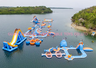 TUV Inflatable Water Park Aqua Park Island For Beach , Sea , Ocean