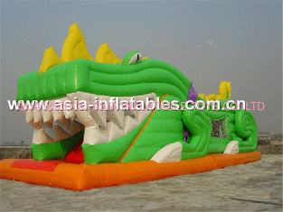 China Inflatable Slide In Crocdile Shape With Tunnels For Children Party Games factory