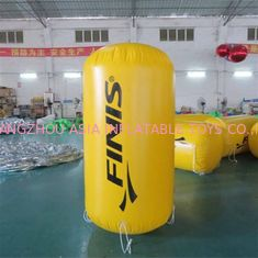 China 0.9mm PVC Tarpaulin  Plato 2mH yellow cylinder inflatable buoys factory