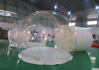 CE EN14960 Three Rooms Glamping Tent , Inflatable Bubble Lodge Tent With Metal Tunnel