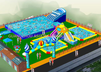 China Durable 0.55mm PVC Taroaulin  Inflatable Water Park With Hand Printing factory