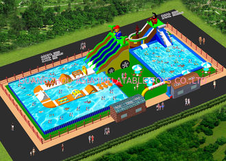 China Custom Inflatable Water Amusement Park Pool Combined With Slide factory