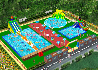 China OEM On Land Inflatable Water Playground / Aqua Slide Park 3 Years Warranty factory