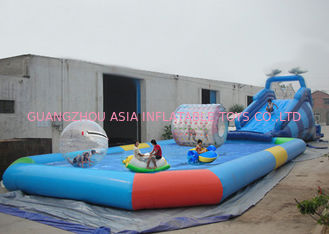 China Customize Made Kids Inflatable Pool Water Park with Slide for Fun factory