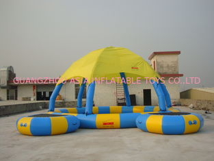 China Blue And Yellow 8m Diameter Kids Inflatable Pools With Trampoline UV Protected factory