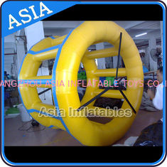 China PVC Tarpaulin Inflatable Yellow Water Roller for Kids Pool Water Games factory