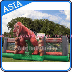Inflatable Jurassic Park Playgroud Dinosaur Fun City With Silk Screen Printing