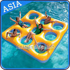 China Yellow 0.9mm PVC Tarpaulin Inflatable Floating Island For Water Sports factory