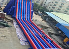 China Blue And Red Giant Inflatable Slide With Three Lanes / Digital Printing factory