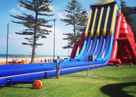 China Blue and Red Large Dry and Wet Slides / Inflatable Water Slide With Pool factory