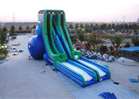 China Green And Blue  Dry and Wet Slides , Inflatable Drop Kick Slide With Double Lanes For Resort And Event factory