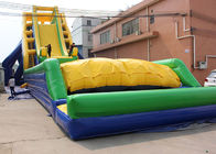 China Yellow, Blue and Green Dry and Wet Slides , Inflatable Crazy Drop Kick Slide For The Amusement Park factory