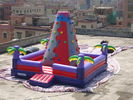 China Bright Coloured Rock Climbing Wall And Safe Pool In Inflatable Amusement Park company