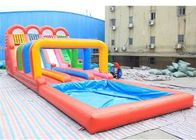 China 0.5mm PVC Inflatable Four lanes Colorful Slide , Inflatable Water Slide factory