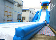 China Crazy Blue Inflatable Dragon Theme Dry And Wet Slide With PVC Material company