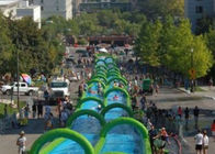China Outdoor Inflatable Slide The City Huge Water Slide 2 Lanes Quadruple Stitching factory